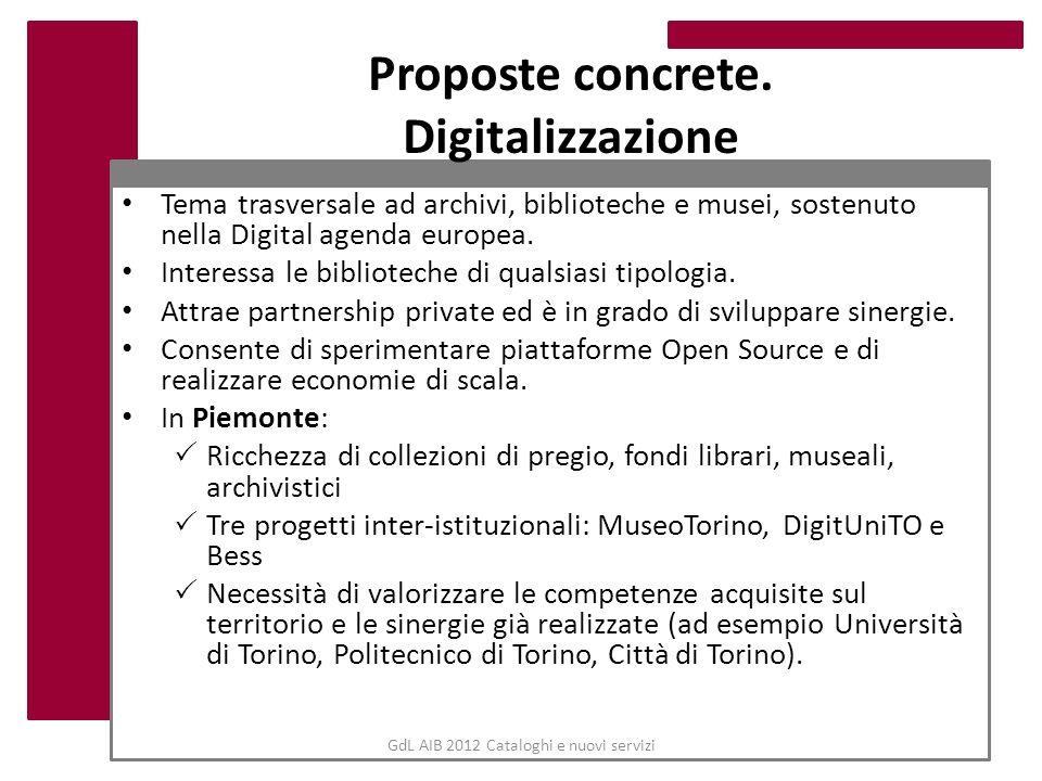 Proposte concrete. Digitalizzazione