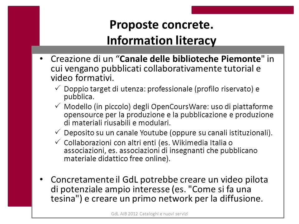 Proposte concrete. Information literacy