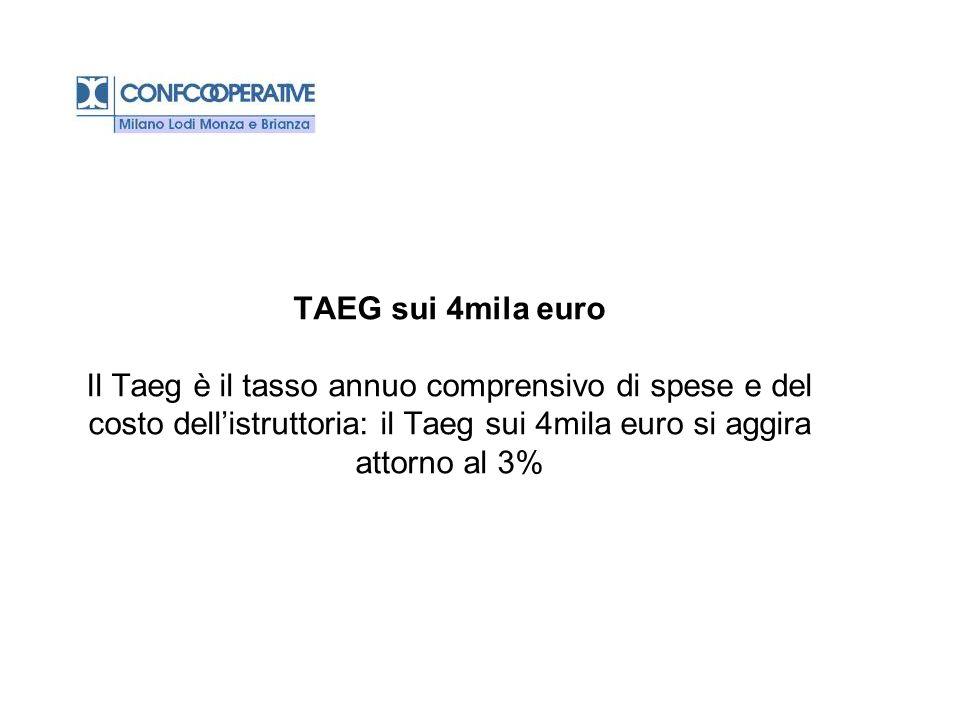 TAEG sui 4mila euro Il Taeg è il tasso annuo comprensivo di spese e del costo dell'istruttoria: il Taeg sui 4mila euro si aggira attorno al 3%