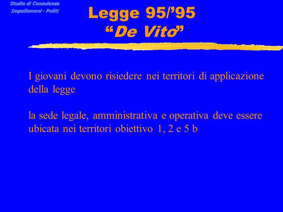 Studio di Consulenza Impallomeni - Politi. Legge 95/'95 De Vito I giovani devono risiedere nei territori di applicazione della legge.