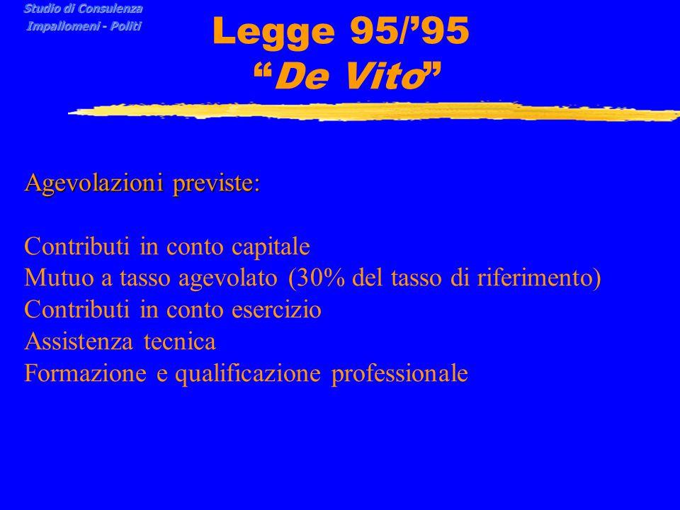 Legge 95/'95 De Vito Agevolazioni previste: