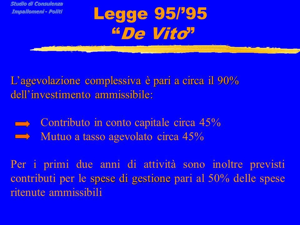 Studio di Consulenza Impallomeni - Politi. Legge 95/'95 De Vito L'agevolazione complessiva è pari a circa il 90% dell'investimento ammissibile: