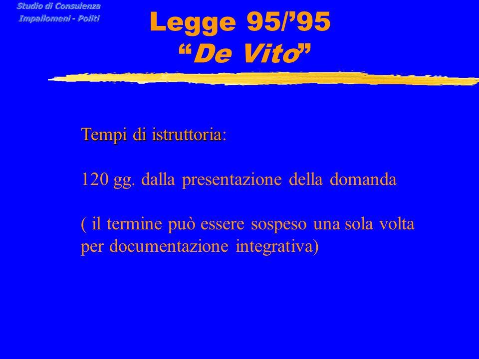Legge 95/'95 De Vito Tempi di istruttoria: