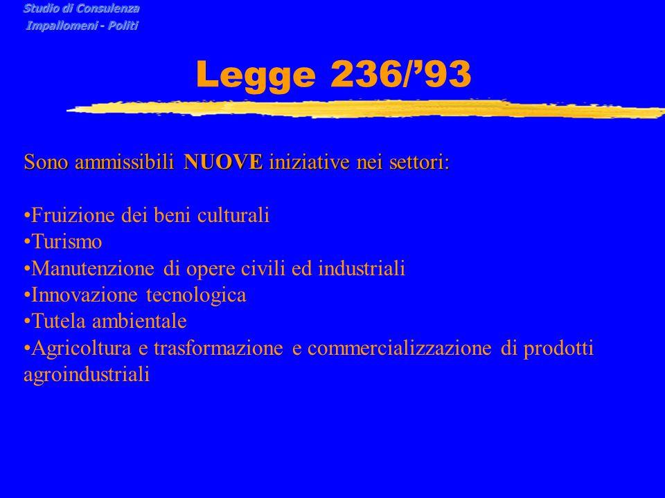 Legge 236/'93 Sono ammissibili NUOVE iniziative nei settori: