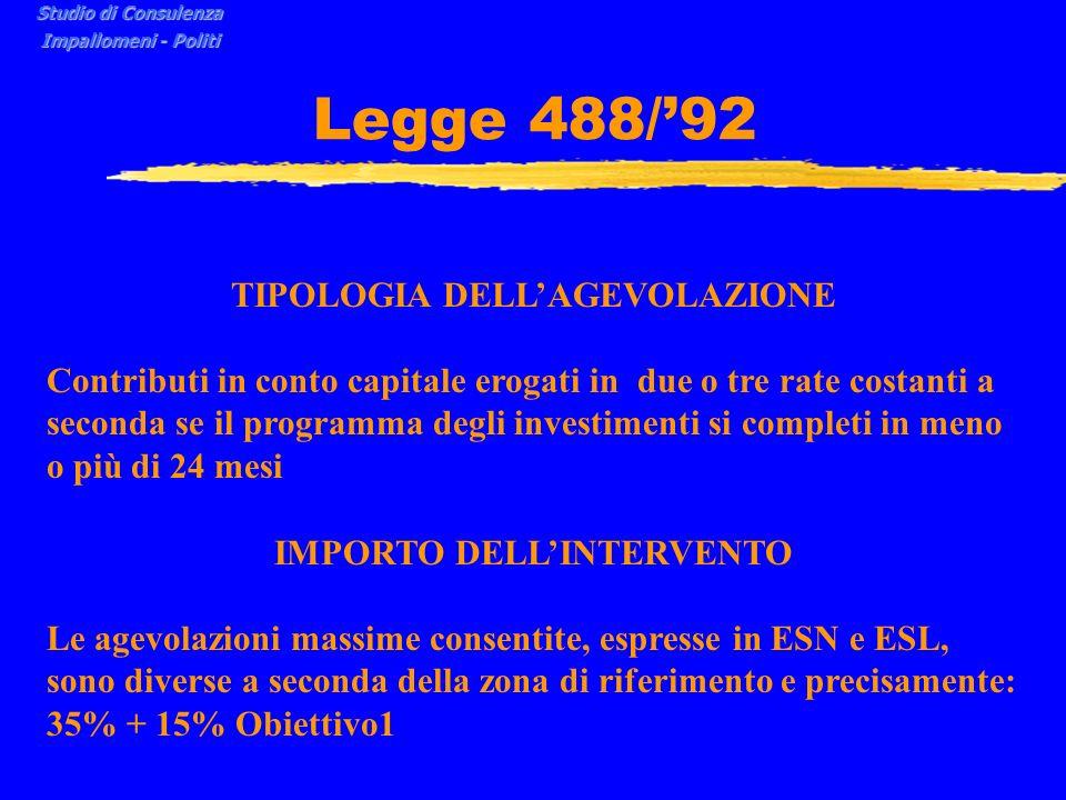 TIPOLOGIA DELL'AGEVOLAZIONE IMPORTO DELL'INTERVENTO