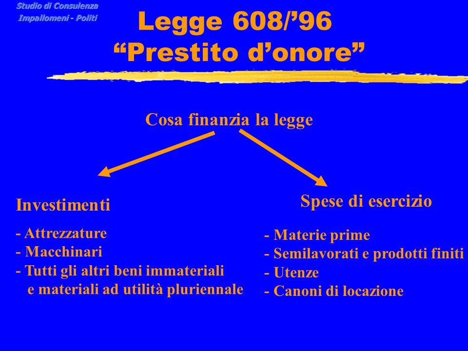 Legge 608/'96 Prestito d'onore