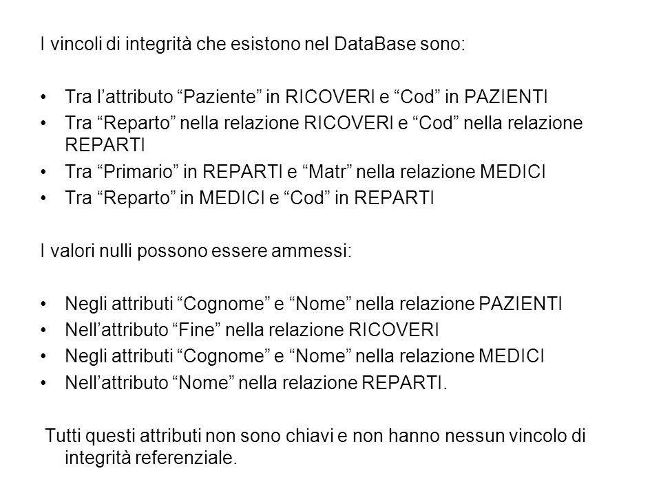 I vincoli di integrità che esistono nel DataBase sono: