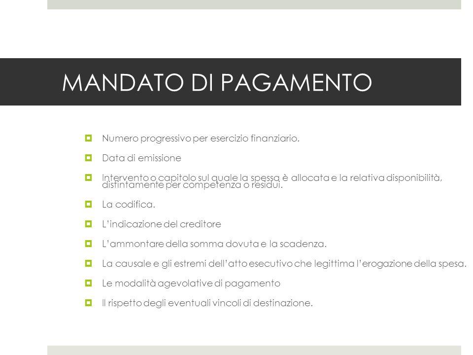 MANDATO DI PAGAMENTO Numero progressivo per esercizio finanziario.