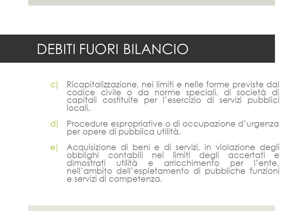 DEBITI FUORI BILANCIO