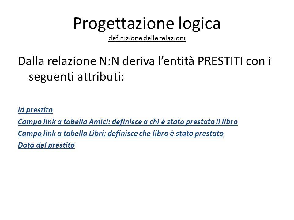 Progettazione logica definizione delle relazioni