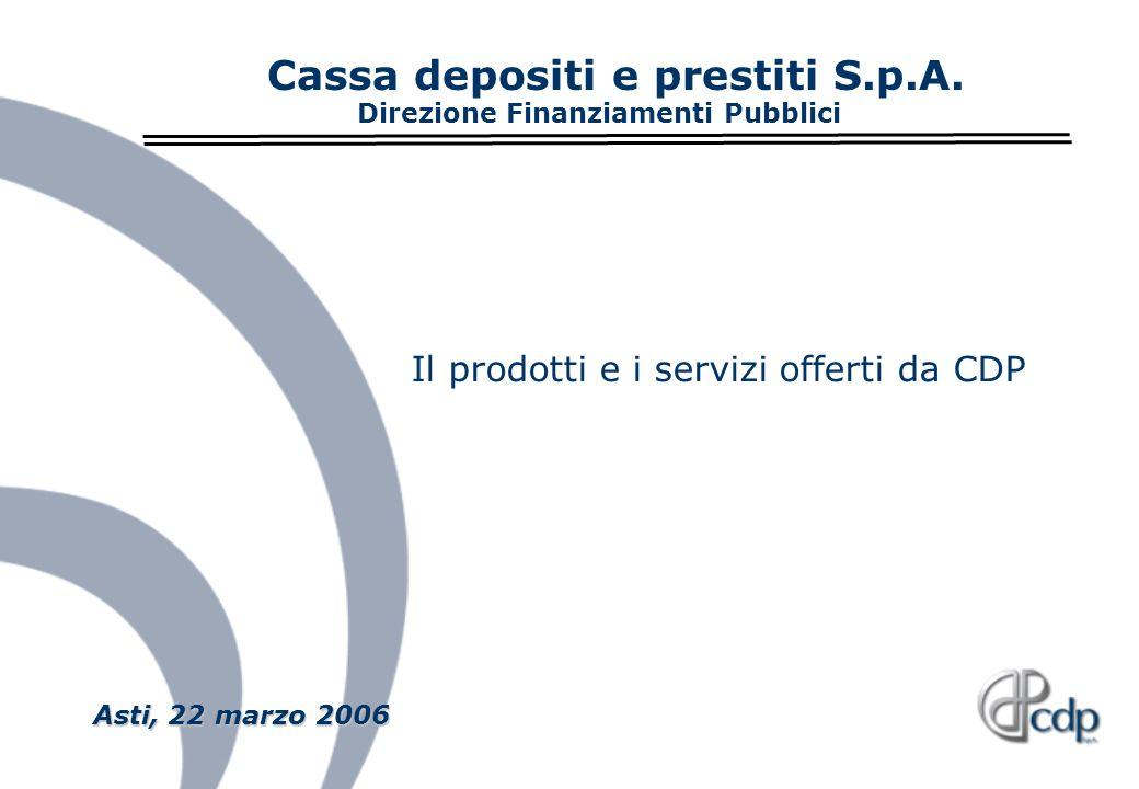 Cassa depositi e prestiti S.p.A. Direzione Finanziamenti Pubblici