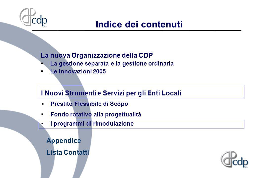 Indice dei contenuti La nuova Organizzazione della CDP