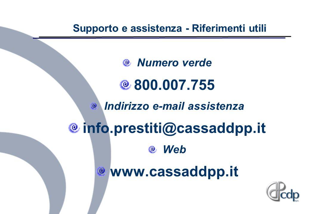 Supporto e assistenza - Riferimenti utili