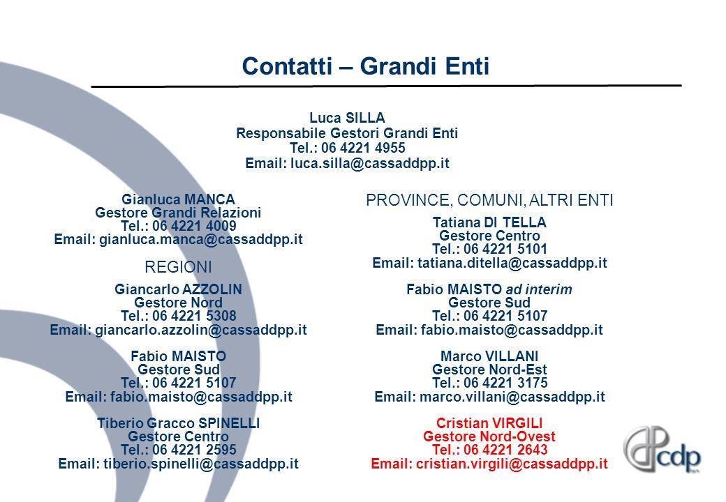 Contatti – Grandi Enti Luca SILLA Responsabile Gestori Grandi Enti Tel.: 06 4221 4955 Email: luca.silla@cassaddpp.it.