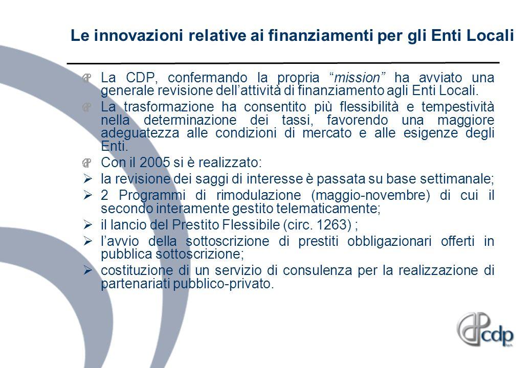 Le innovazioni relative ai finanziamenti per gli Enti Locali
