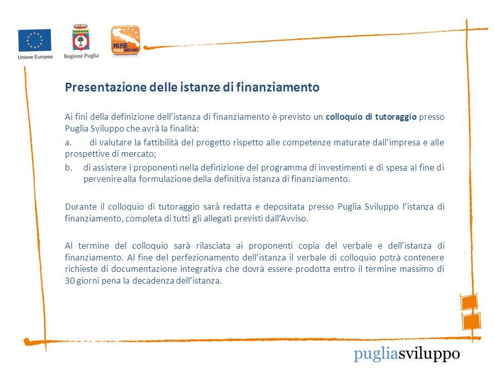 Presentazione delle istanze di finanziamento