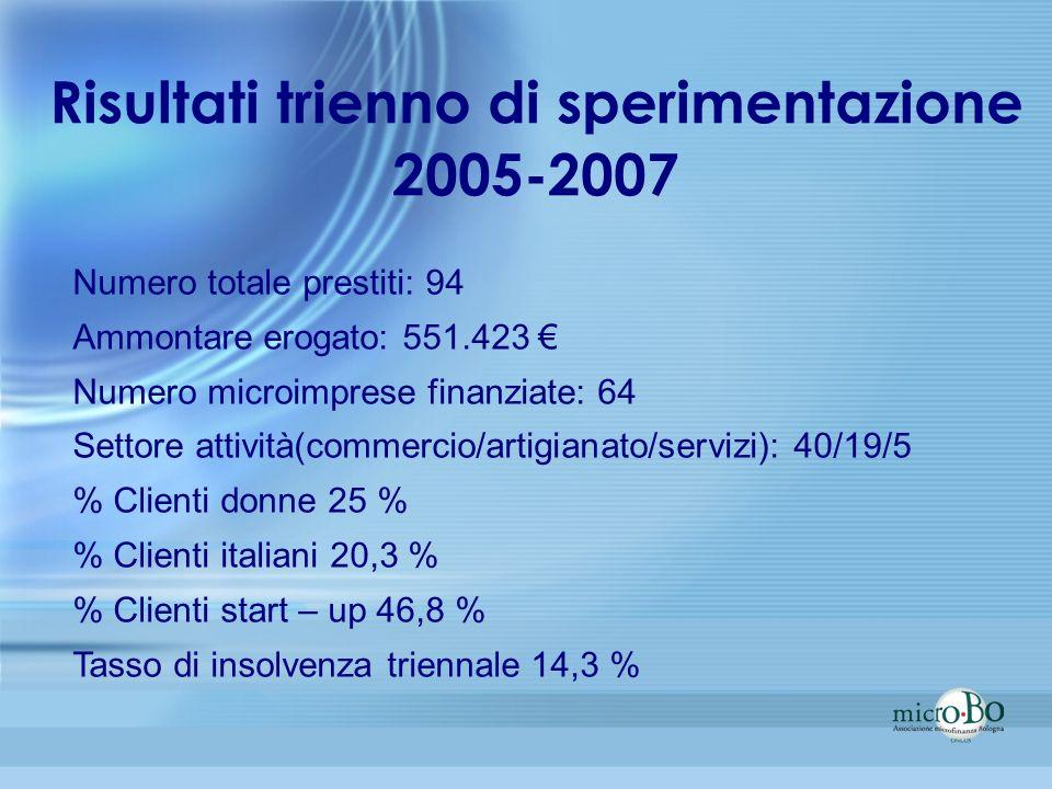 Risultati trienno di sperimentazione 2005-2007
