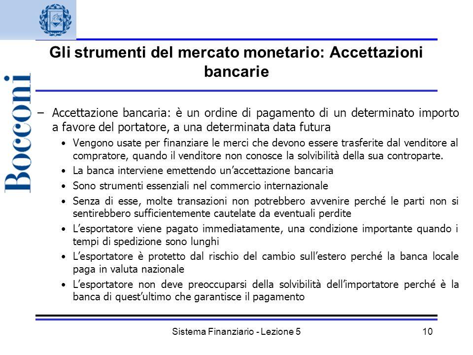 Gli strumenti del mercato monetario: Accettazioni bancarie