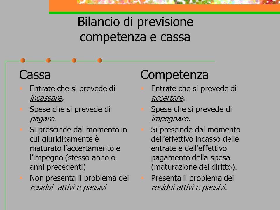 Bilancio di previsione competenza e cassa