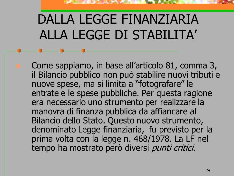 DALLA LEGGE FINANZIARIA ALLA LEGGE DI STABILITA'