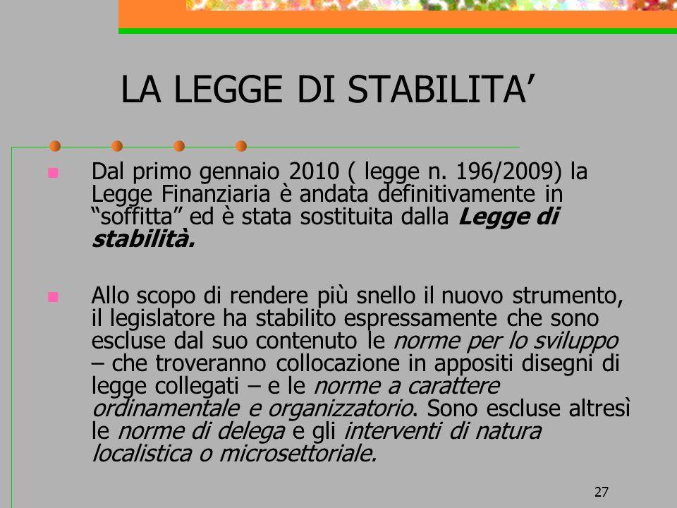 LA LEGGE DI STABILITA'
