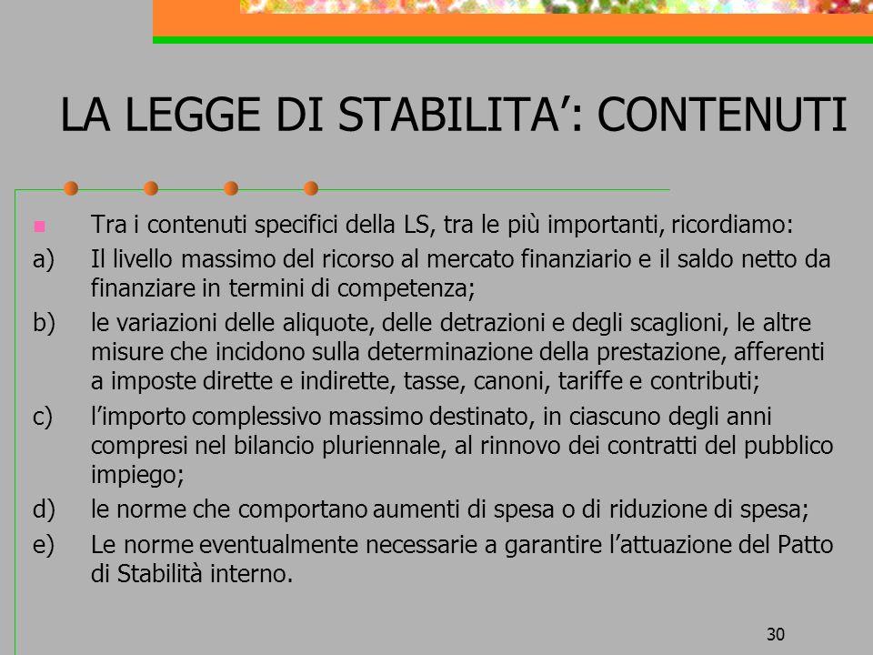 LA LEGGE DI STABILITA': CONTENUTI