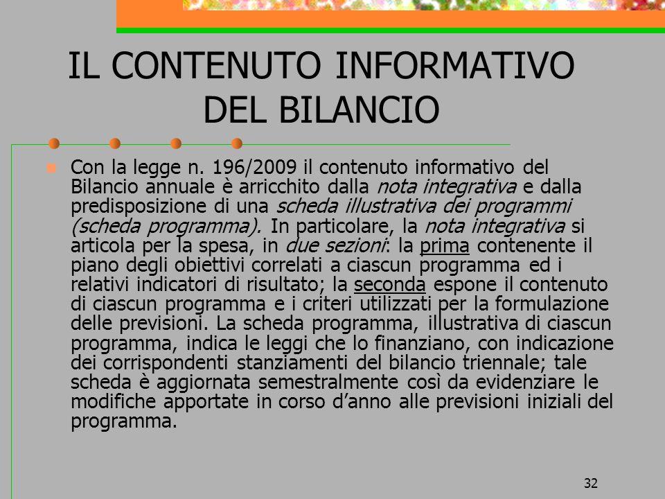 IL CONTENUTO INFORMATIVO DEL BILANCIO