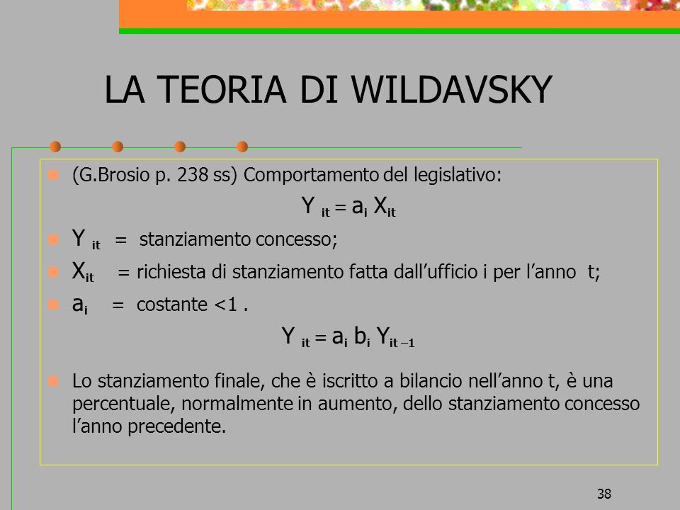 LA TEORIA DI WILDAVSKY Y it = ai Xit Y it = stanziamento concesso;