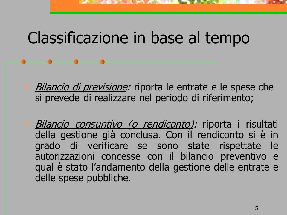 Classificazione in base al tempo