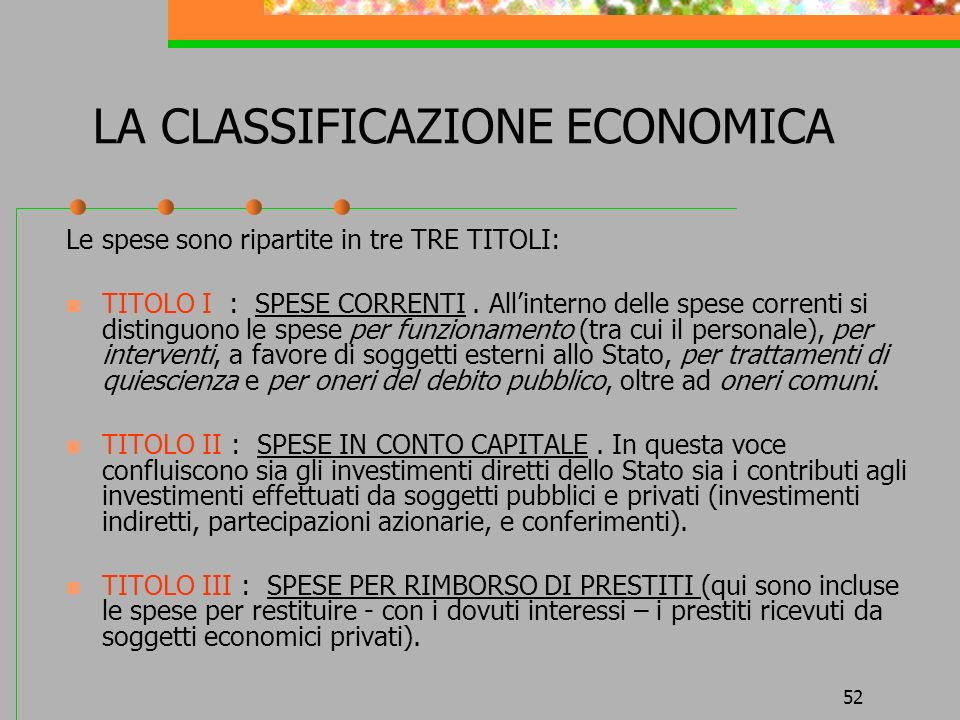 LA CLASSIFICAZIONE ECONOMICA