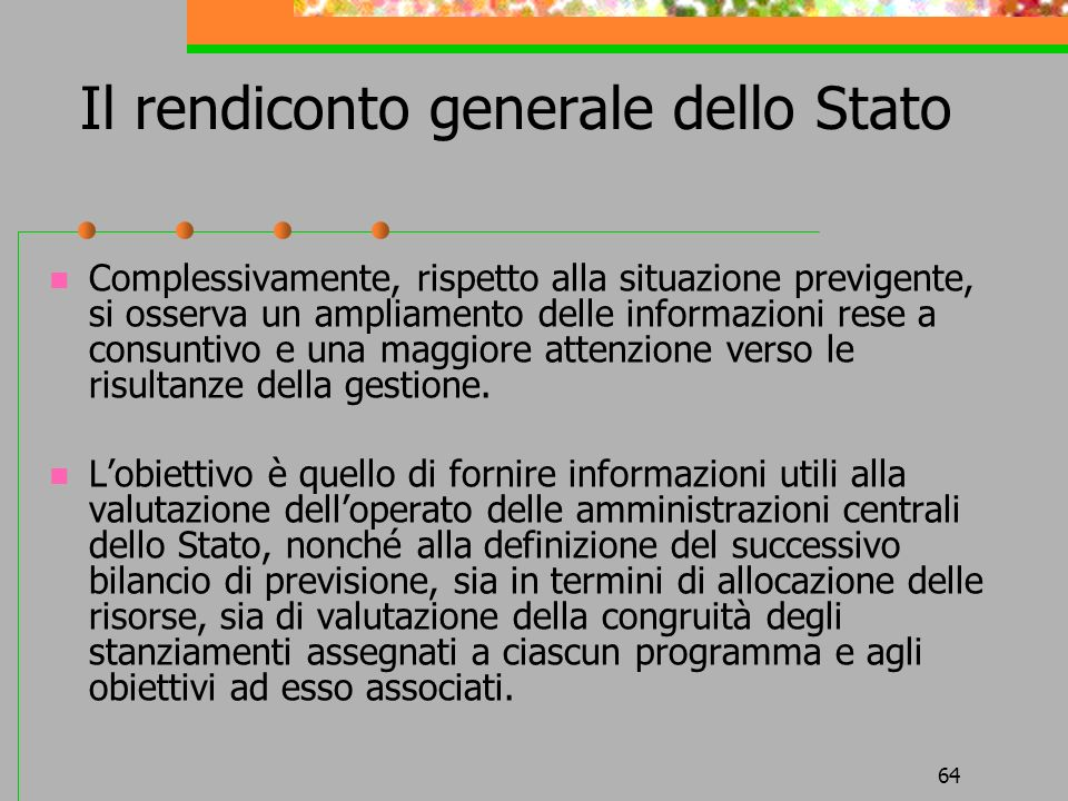 Il rendiconto generale dello Stato