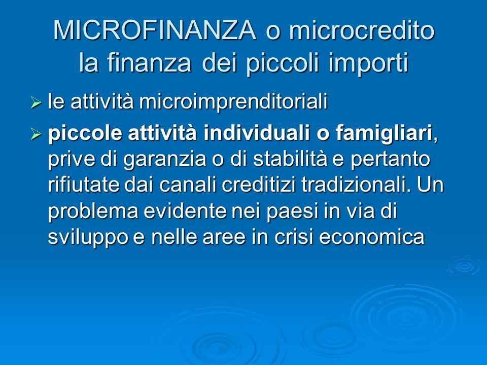 MICROFINANZA o microcredito la finanza dei piccoli importi