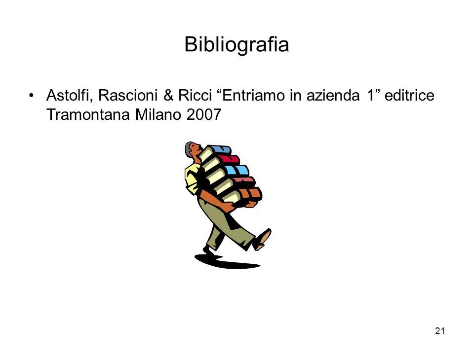 Bibliografia Astolfi, Rascioni & Ricci Entriamo in azienda 1 editrice Tramontana Milano 2007