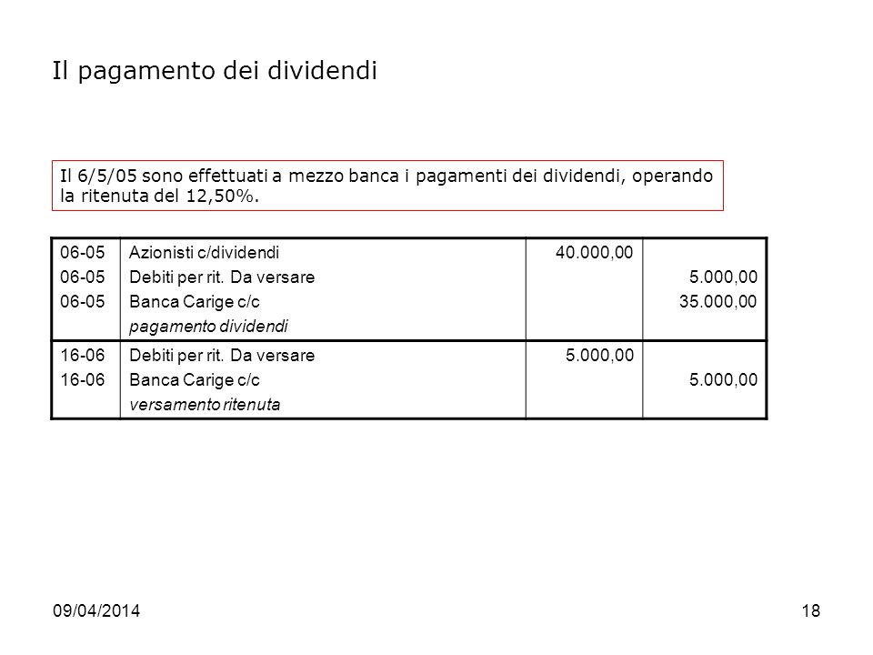 Il pagamento dei dividendi
