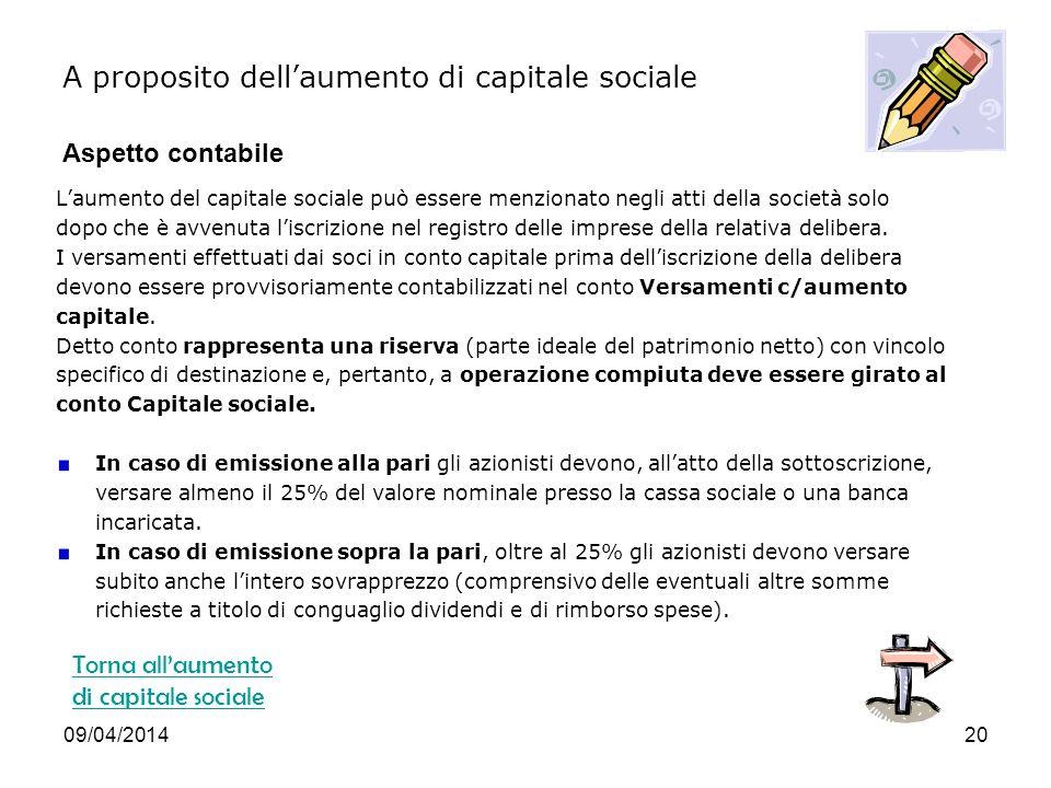 A proposito dell'aumento di capitale sociale