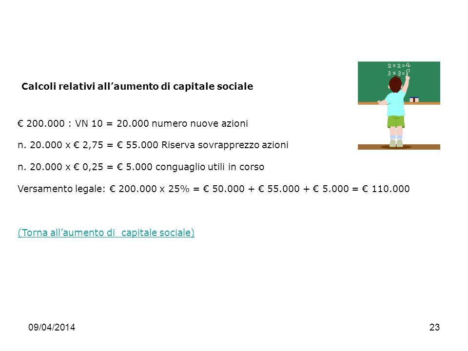 Calcoli relativi all'aumento di capitale sociale