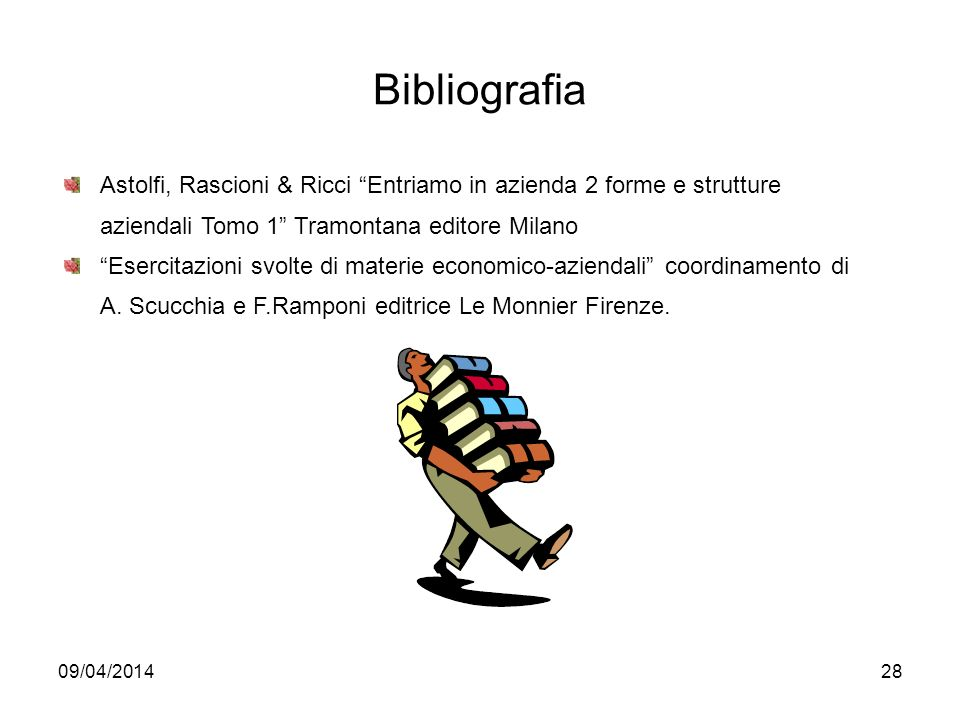 Bibliografia Astolfi, Rascioni & Ricci Entriamo in azienda 2 forme e strutture aziendali Tomo 1 Tramontana editore Milano.