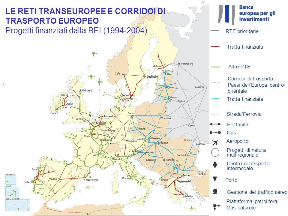 LE RETI TRANSEUROPEE E CORRIDOI DI TRASPORTO EUROPEO Progetti finanziati dalla BEI (1994-2004)