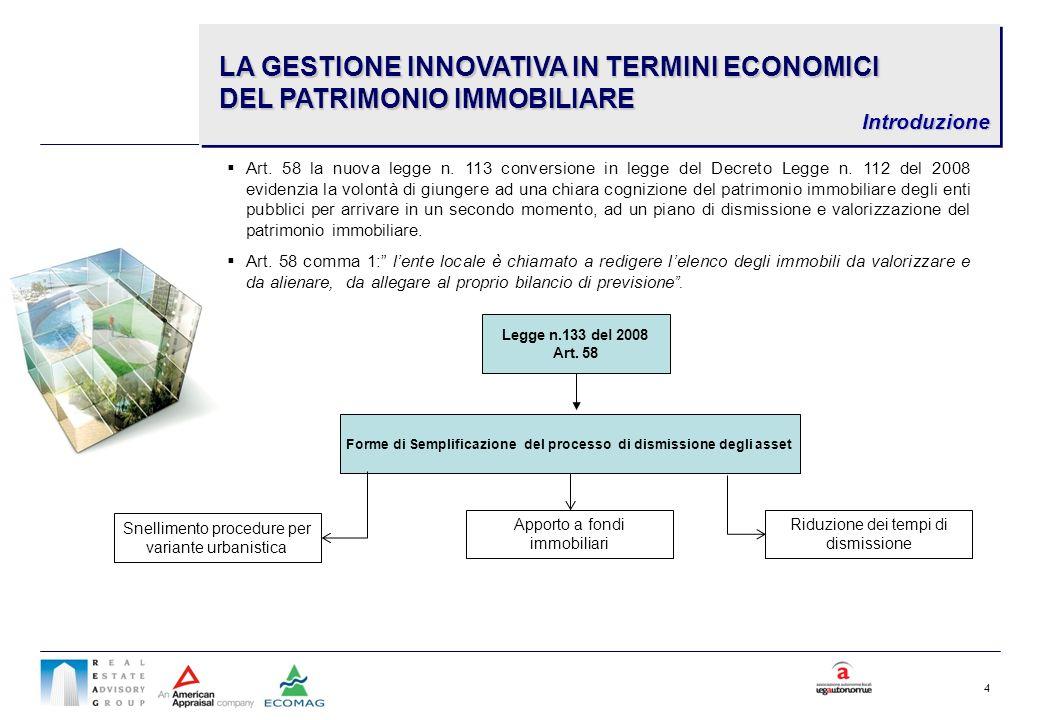 Forme di Semplificazione del processo di dismissione degli asset