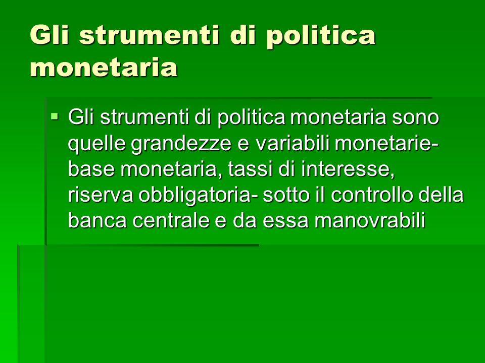Gli strumenti di politica monetaria