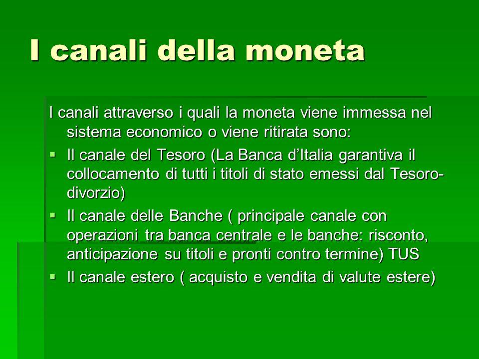 I canali della moneta I canali attraverso i quali la moneta viene immessa nel sistema economico o viene ritirata sono: