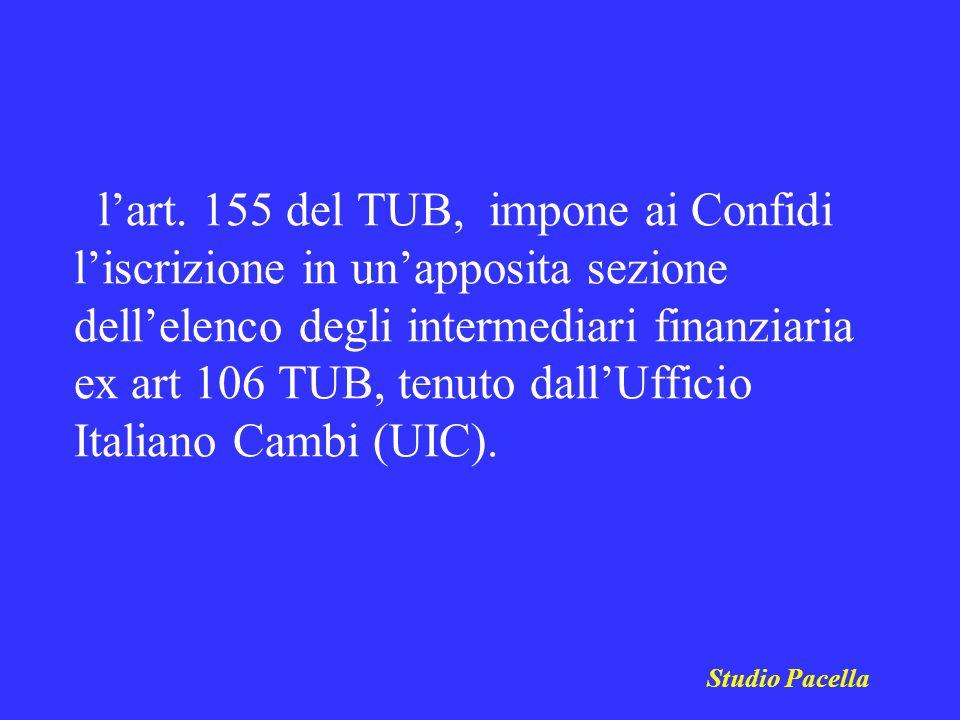 l'art. 155 del TUB, impone ai Confidi l'iscrizione in un'apposita sezione dell'elenco degli intermediari finanziaria ex art 106 TUB, tenuto dall'Ufficio Italiano Cambi (UIC).