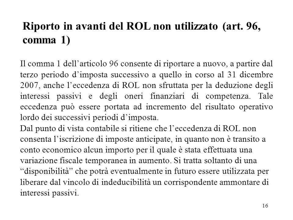 Riporto in avanti del ROL non utilizzato (art. 96, comma 1)