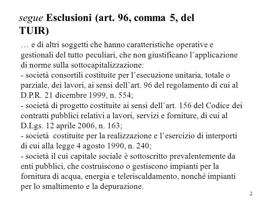 segue Esclusioni (art. 96, comma 5, del TUIR)