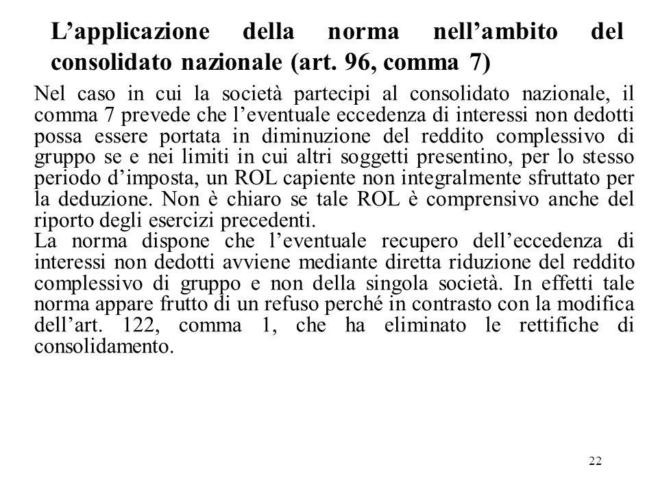 L'applicazione della norma nell'ambito del consolidato nazionale (art