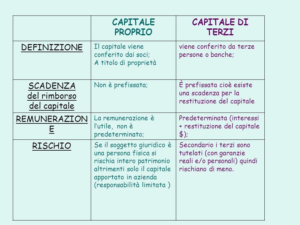 CAPITALE PROPRIO CAPITALE DI TERZI