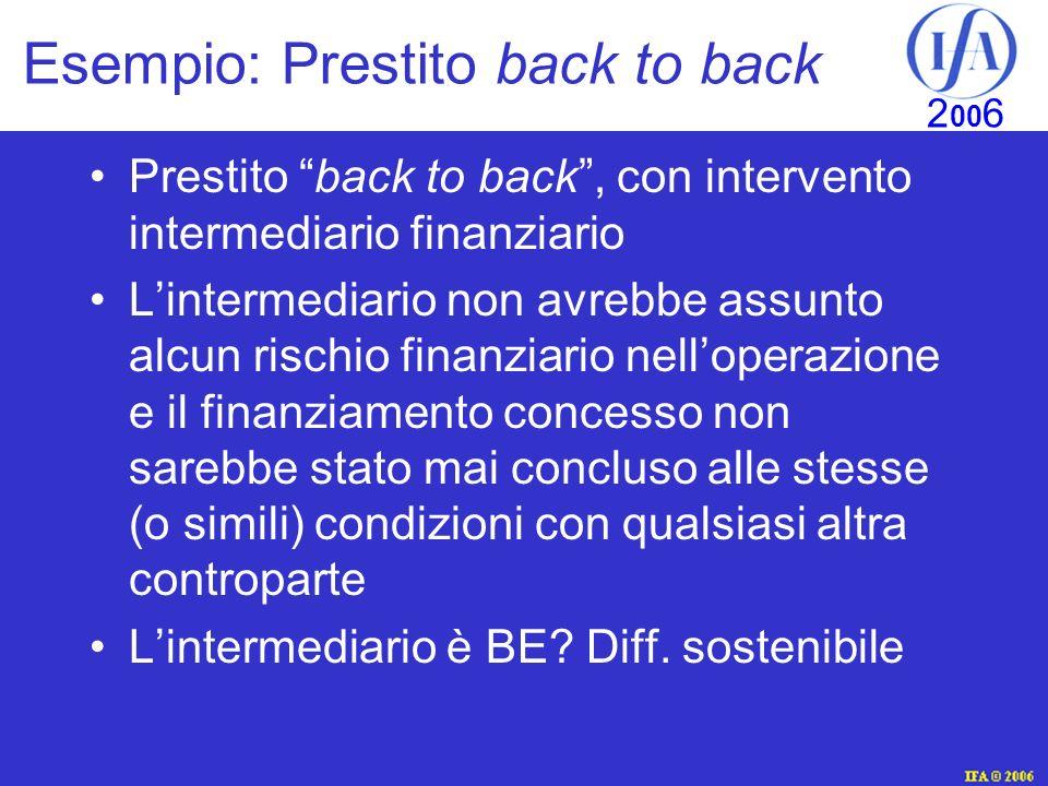 Esempio: Prestito back to back