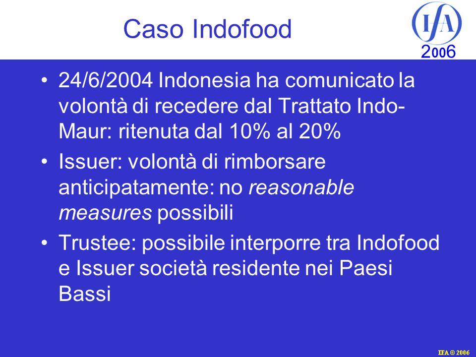 Caso Indofood 24/6/2004 Indonesia ha comunicato la volontà di recedere dal Trattato Indo-Maur: ritenuta dal 10% al 20%