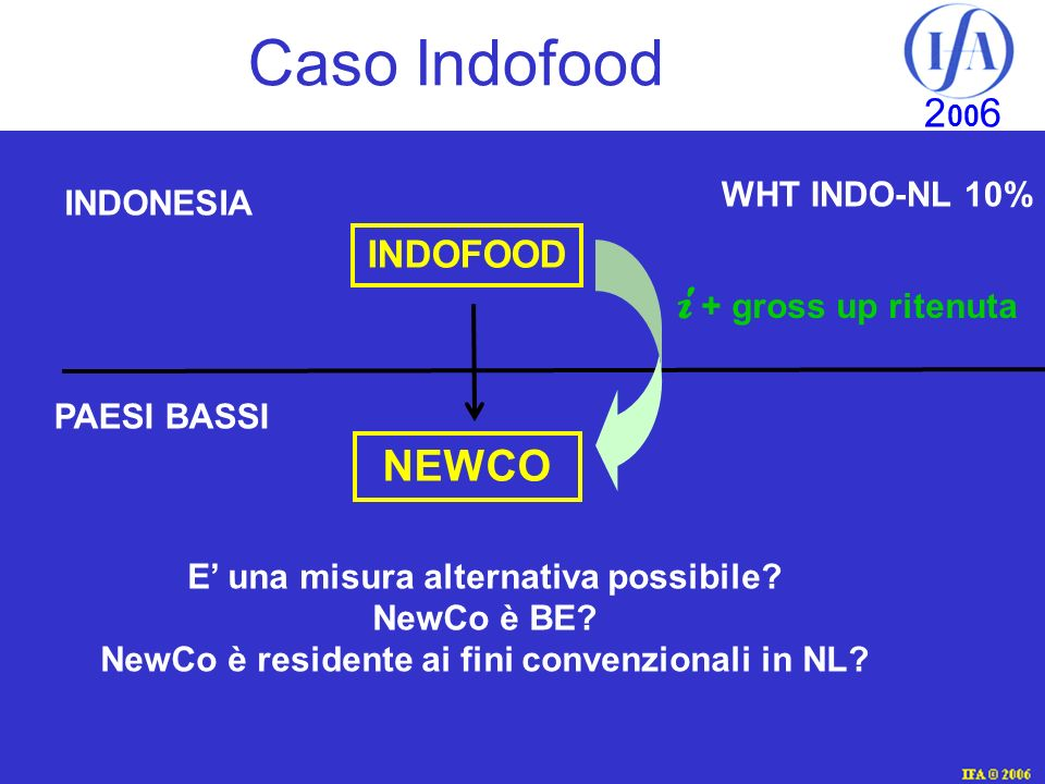 Caso Indofood i + gross up ritenuta NEWCO INDOFOOD WHT INDO-NL 10%