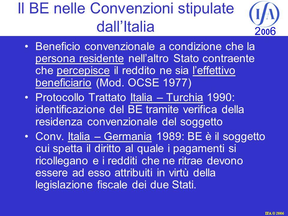Il BE nelle Convenzioni stipulate dall'Italia